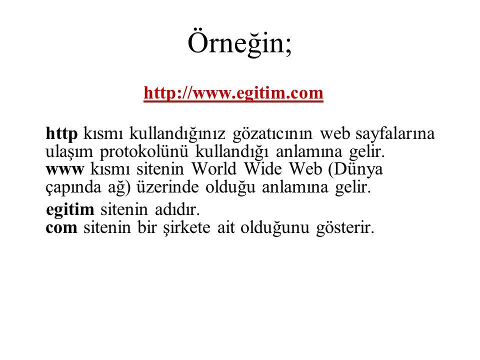 Örneğin; http://www.egitim.com http kısmı kullandığınız gözatıcının web sayfalarına ulaşım protokolünü kullandığı anlamına gelir. www kısmı sitenin Wo