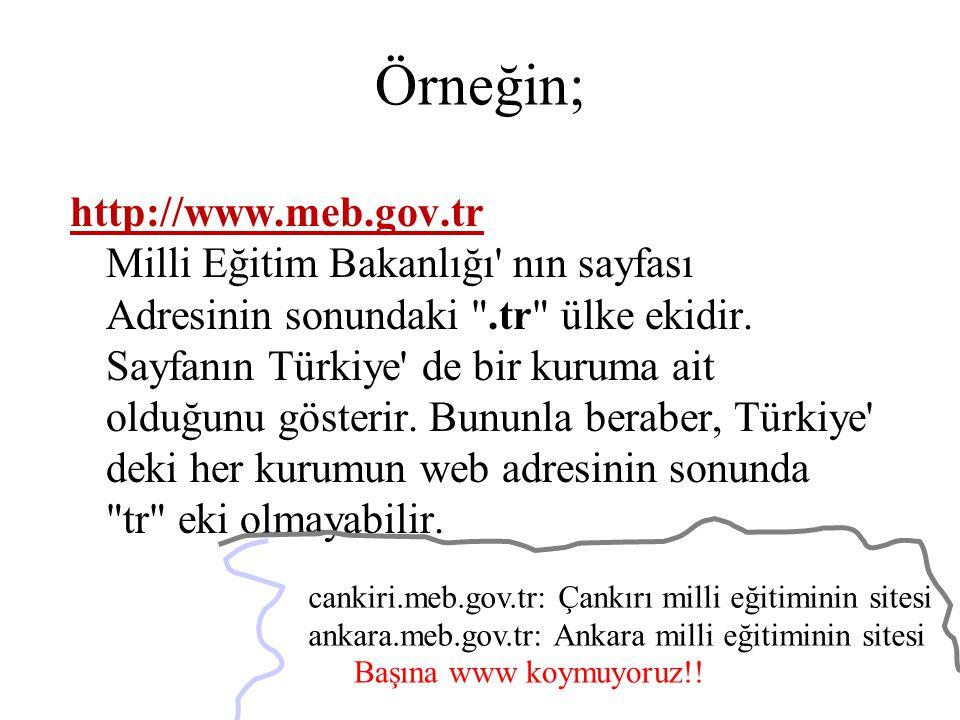 Örneğin; http://www.meb.gov.tr Milli Eğitim Bakanlığı' nın sayfası Adresinin sonundaki