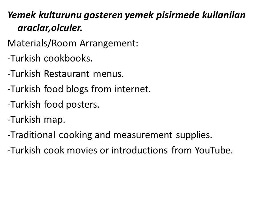 Yemek kulturunu gosteren yemek pisirmede kullanilan araclar,olculer. Materials/Room Arrangement: -Turkish cookbooks. -Turkish Restaurant menus. -Turki