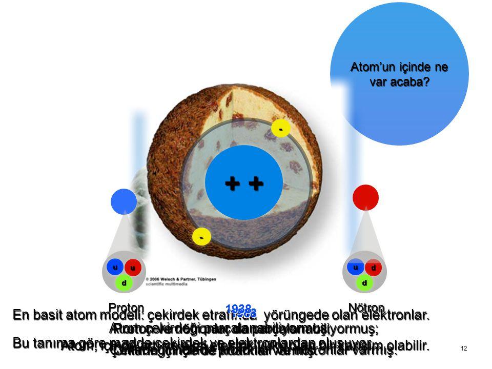 12 Atom'un içinde ne var acaba? 1911 -- -- uu uu dd Proton uu dd dd Nötron En basit atom modeli: çekirdek etrafında yörüngede olan elektronlar. Bu tan