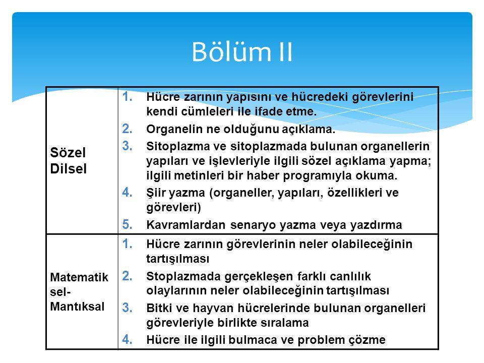 Sözel Dilsel 1. Hücre zarının yapısını ve hücredeki görevlerini kendi cümleleri ile ifade etme. 2. Organelin ne olduğunu açıklama. 3. Sitoplazma ve si
