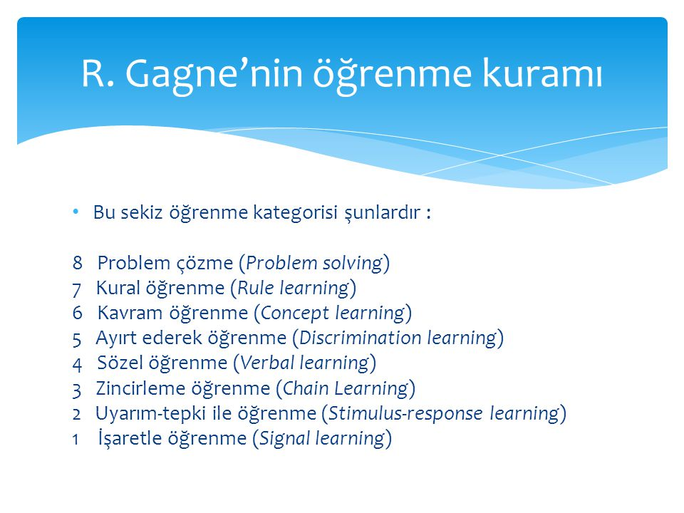 Bu sekiz öğrenme kategorisi şunlardır : 8 Problem çözme (Problem solving) 7 Kural öğrenme (Rule learning) 6 Kavram öğrenme (Concept learning) 5 Ayırt