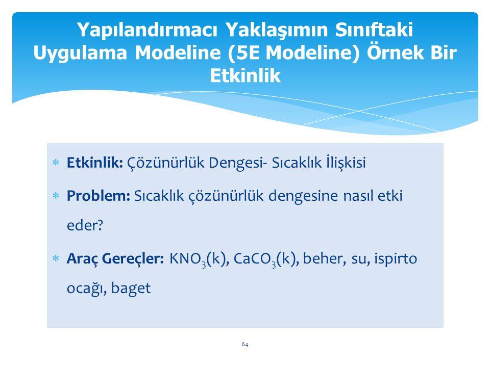  Etkinlik: Çözünürlük Dengesi- Sıcaklık İlişkisi  Problem: Sıcaklık çözünürlük dengesine nasıl etki eder?  Araç Gereçler: KNO 3 (k), CaCO 3 (k), be