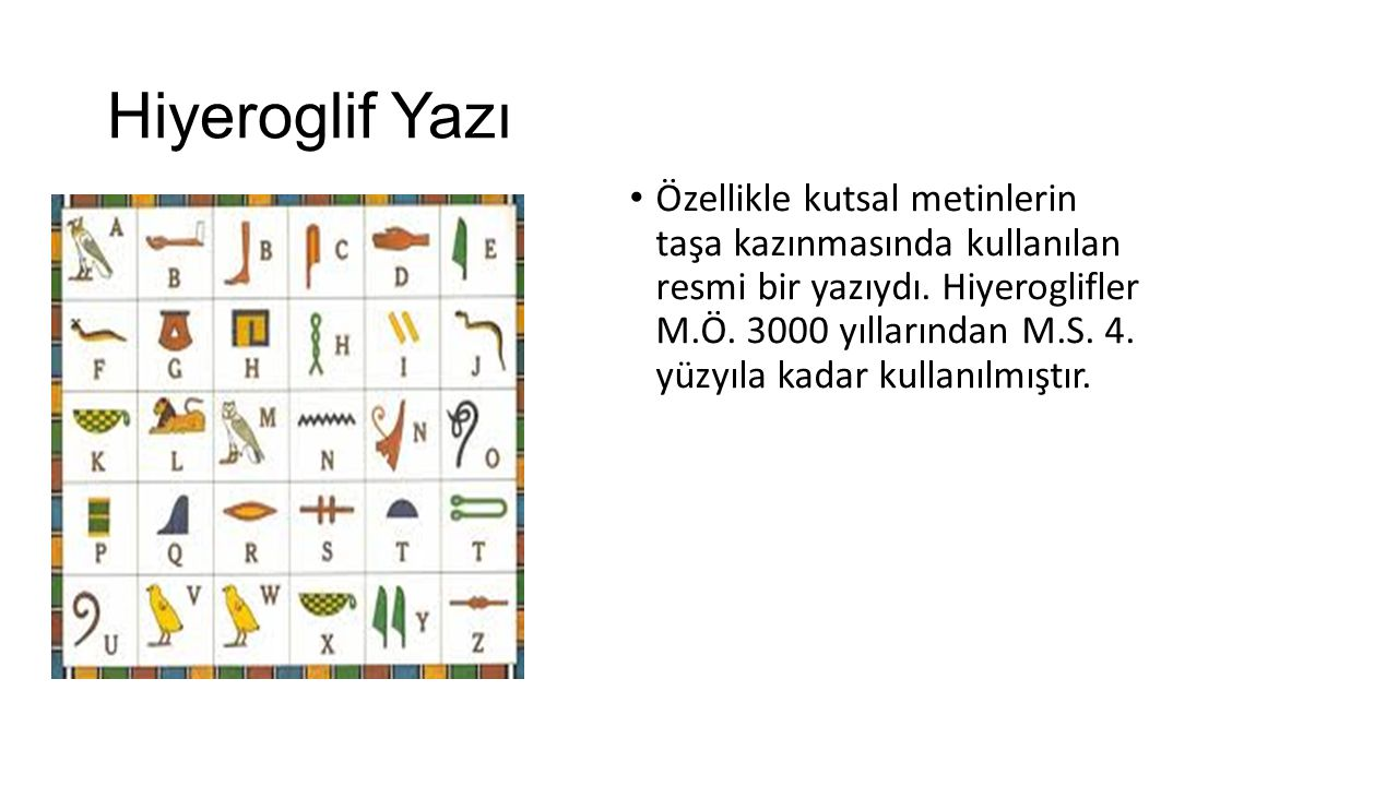 Hiyeroglif Yazı Özellikle kutsal metinlerin taşa kazınmasında kullanılan resmi bir yazıydı. Hiyeroglifler M.Ö. 3000 yıllarından M.S. 4. yüzyıla kadar