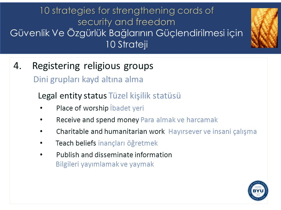 4.Registering religious groups Dini grupları kayd altına alma Legal entity status Tüzel kişilik statüsü Place of worship İbadet yeri Receive and spend
