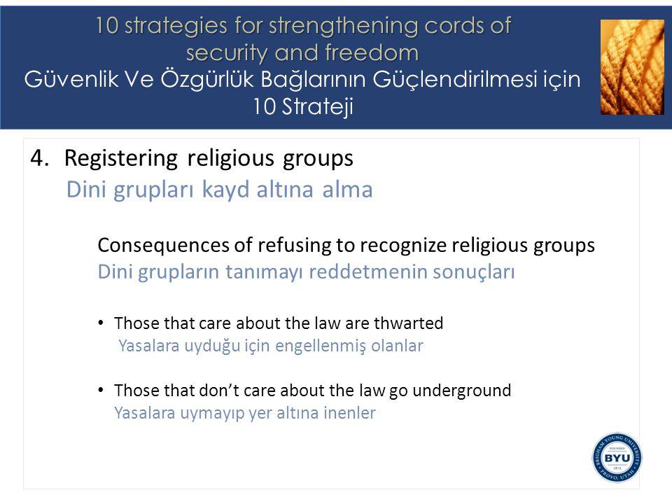 4.Registering religious groups Dini grupları kayd altına alma Consequences of refusing to recognize religious groups Dini grupların tanımayı reddetmenin sonuçları Those that care about the law are thwarted Yasalara uyduğu için engellenmiş olanlar Those that don't care about the law go underground Yasalara uymayıp yer altına inenler