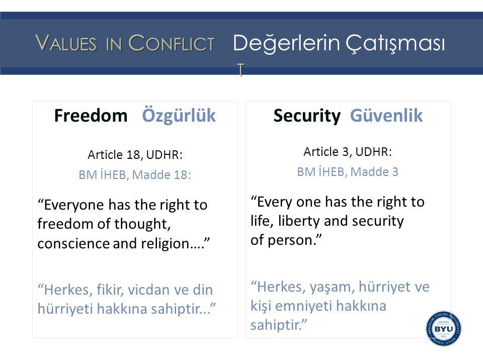 Freedom and Security are two strands in social cords that bind together good societies Özgürlük ve Güvenlik birlikte iyi toplumları bir arada tutan ve bağlayan iki ipli sosyal kablolardır Security Freedom