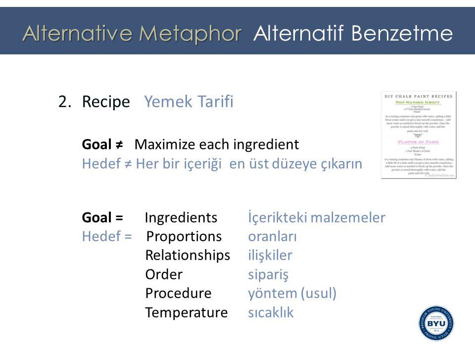 2.Recipe Yemek Tarifi Goal ≠ Maximize each ingredient Hedef ≠ Her bir içeriği en üst düzeye çıkarın Goal = Ingredients İçerikteki malzemeler Hedef = Proportionsoranları Relationships ilişkiler Order sipariş Procedure yöntem (usul) Temperature sıcaklık