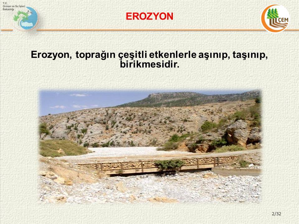 Erozyon, toprağın çeşitli etkenlerle aşınıp, taşınıp, birikmesidir. EROZYON 2/32