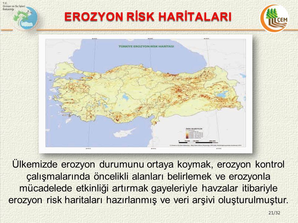 21/32 EROZYON RİSK HARİTALARI Ülkemizde erozyon durumunu ortaya koymak, erozyon kontrol çalışmalarında öncelikli alanları belirlemek ve erozyonla mücadelede etkinliği artırmak gayeleriyle havzalar itibariyle erozyon risk haritaları hazırlanmış ve veri arşivi oluşturulmuştur.