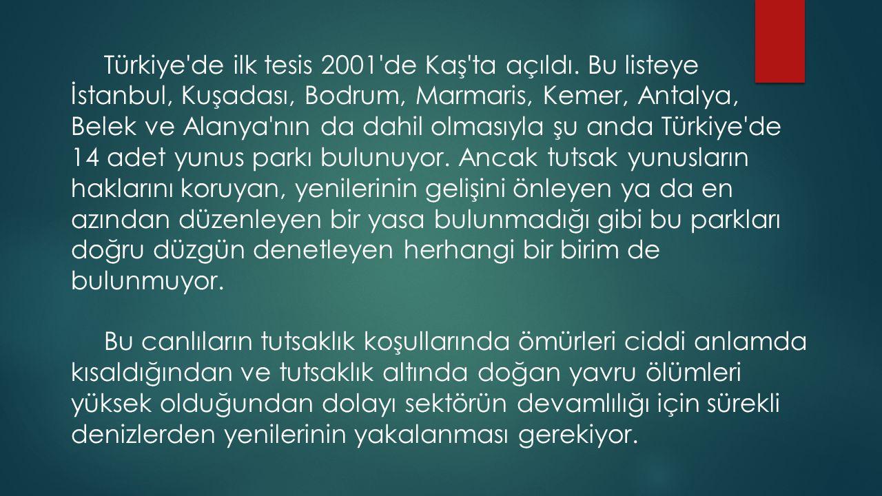 Türkiye de ilk tesis 2001 de Kaş ta açıldı.