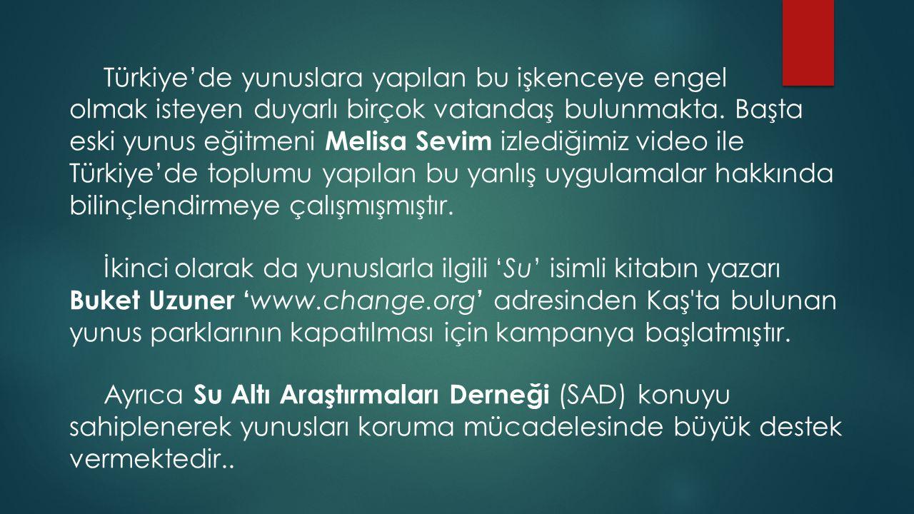 Türkiye'de yunuslara yapılan bu işkenceye engel olmak isteyen duyarlı birçok vatandaş bulunmakta. Başta eski yunus eğitmeni Melisa Sevim izlediğimiz v