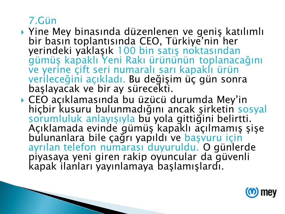 7.Gün  Yine Mey binasında düzenlenen ve geniş katılımlı bir basın toplantısında CEO, Türkiye'nin her yerindeki yaklaşık 100 bin satış noktasından güm