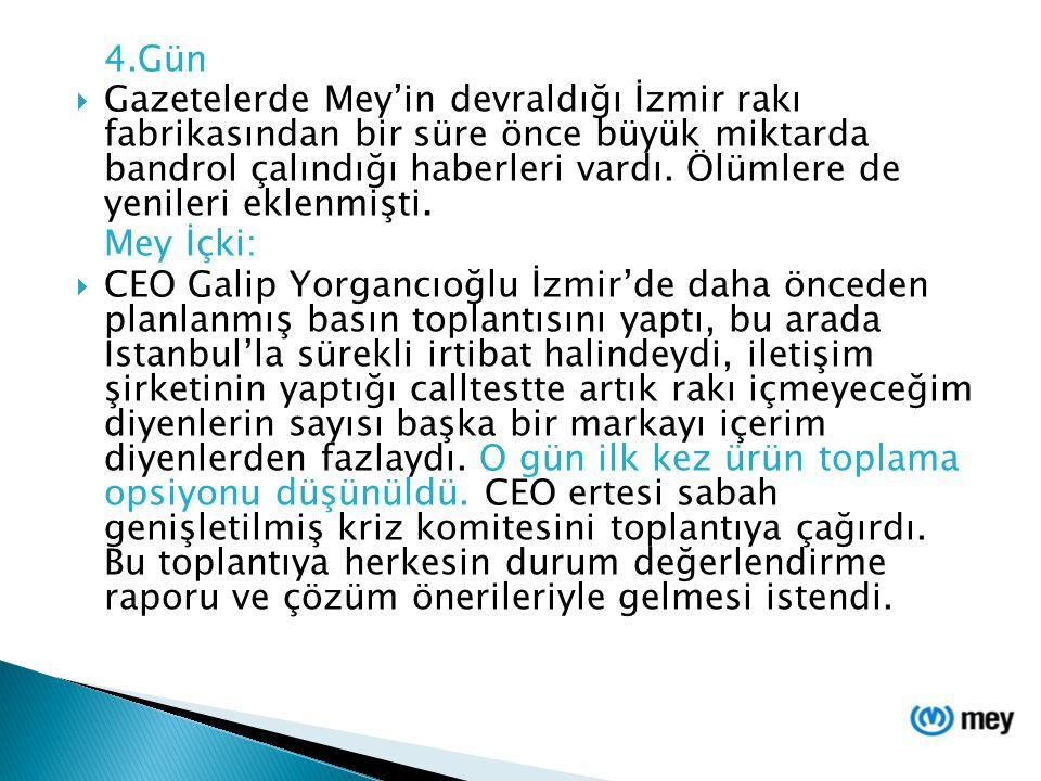4.Gün  Gazetelerde Mey'in devraldığı İzmir rakı fabrikasından bir süre önce büyük miktarda bandrol çalındığı haberleri vardı. Ölümlere de yenileri ek