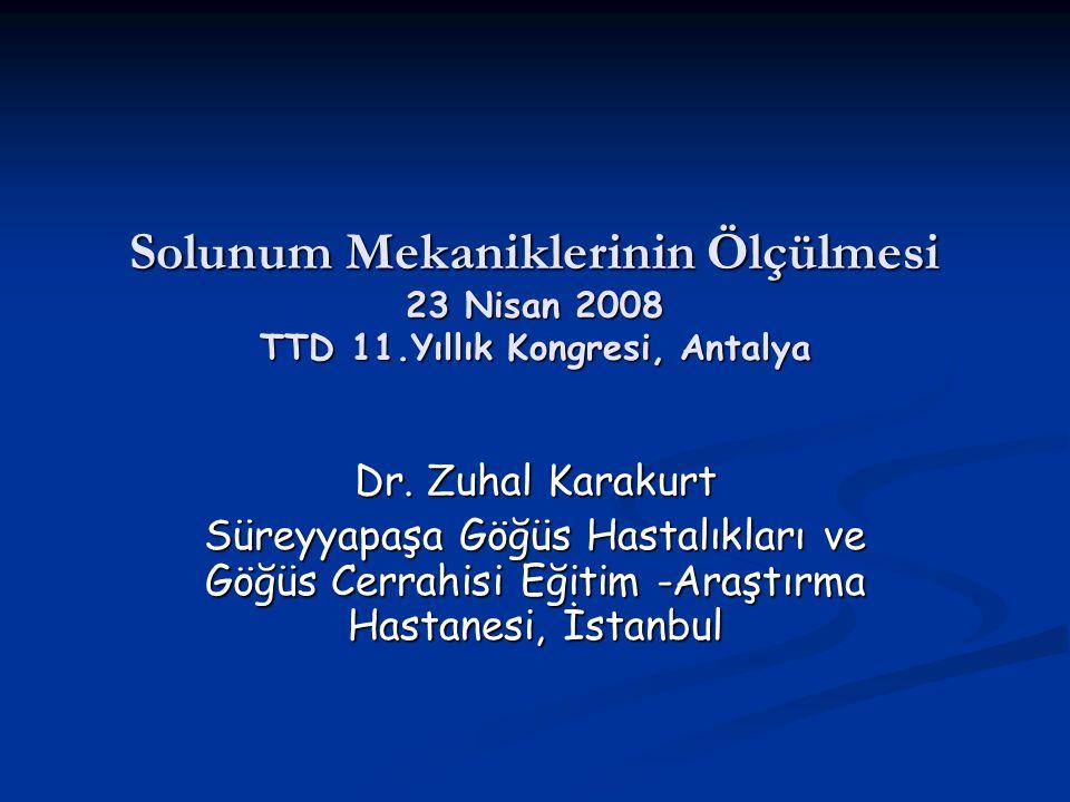 Solunum Mekaniklerinin Ölçülmesi 23 Nisan 2008 TTD 11.Yıllık Kongresi, Antalya Dr.