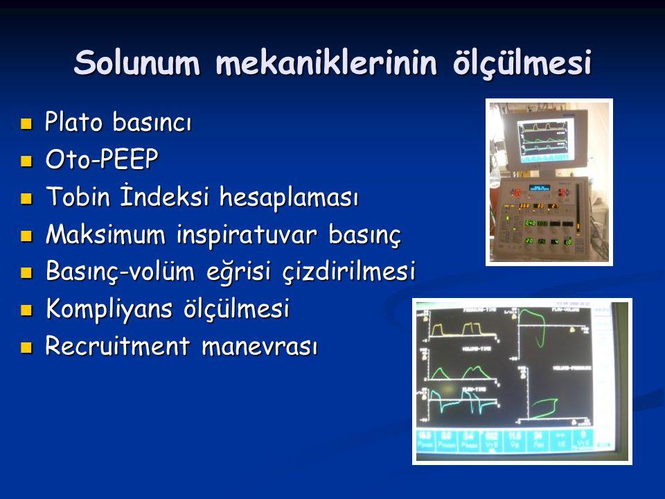 Solunum mekaniklerinin ölçülmesi Plato basıncı Plato basıncı Oto-PEEP Oto-PEEP Tobin İndeksi hesaplaması Tobin İndeksi hesaplaması Maksimum inspiratuvar basınç Maksimum inspiratuvar basınç Basınç-volüm eğrisi çizdirilmesi Basınç-volüm eğrisi çizdirilmesi Kompliyans ölçülmesi Kompliyans ölçülmesi Recruitment manevrası Recruitment manevrası