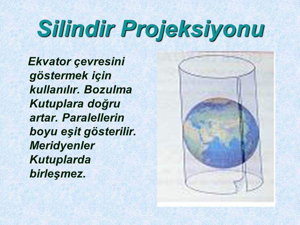 Silindir Projeksiyonu Ekvator çevresini göstermek için kullanılır. Bozulma Kutuplara doğru artar. Paralellerin boyu eşit gösterilir. Meridyenler Kutup