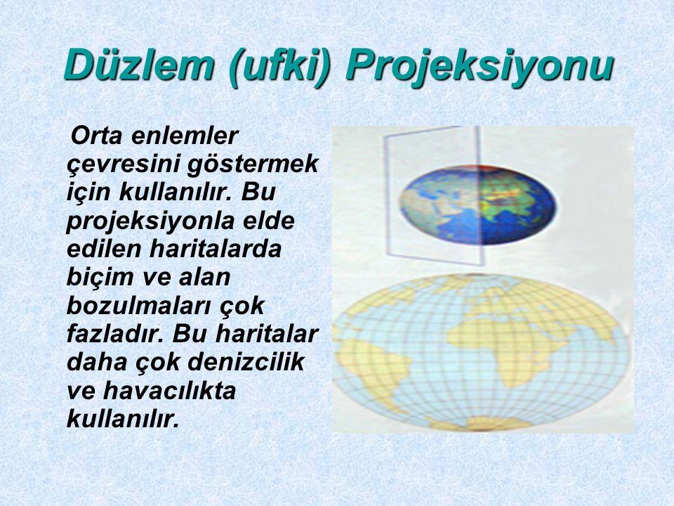 Düzlem (ufki) Projeksiyonu Orta enlemler çevresini göstermek için kullanılır. Bu projeksiyonla elde edilen haritalarda biçim ve alan bozulmaları çok f