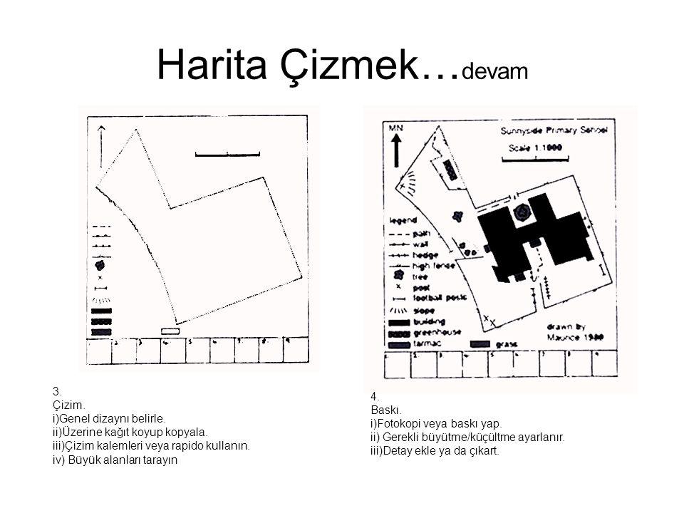Harita Çizmek… devam 3. Çizim. i)Genel dizaynı belirle. ii)Üzerine kağıt koyup kopyala. iii)Çizim kalemleri veya rapido kullanın. iv) Büyük alanları t