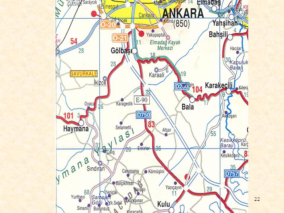 23 Harita Kullanım Kılavuzu Otoyollar ve Kavşaklar İnşa Halinde Otoyollar Çok Şeritli Yollar Uluslararası Yollar