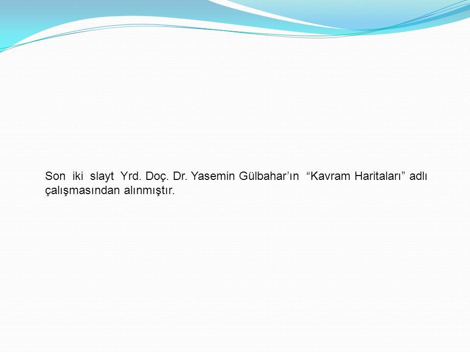 """Son iki slayt Yrd. Doç. Dr. Yasemin Gülbahar'ın """"Kavram Haritaları"""" adlı çalışmasından alınmıştır."""