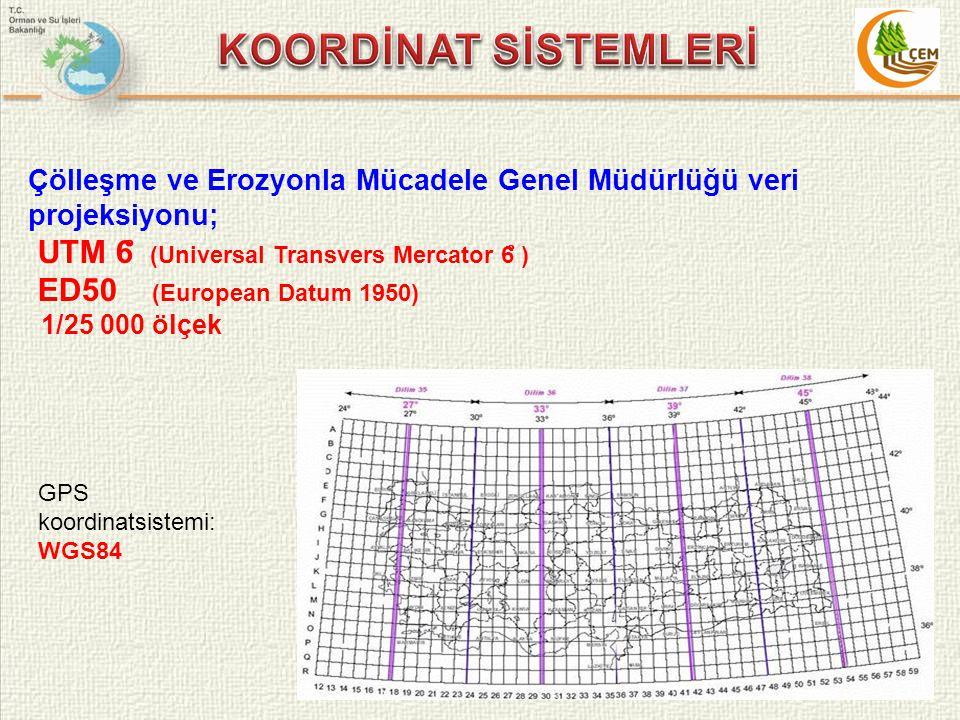 Çölleşme ve Erozyonla Mücadele Genel Müdürlüğü veri projeksiyonu; UTM 6 ̊ (Universal Transvers Mercator 6 ̊ ) ED50 (European Datum 1950) 1/25 000 ölçe