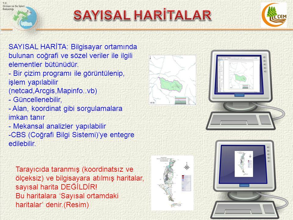 SAYISAL HARİTA: Bilgisayar ortamında bulunan coğrafi ve sözel veriler ile ilgili elementler bütünüdür. - Bir çizim programı ile görüntülenip, işlem ya