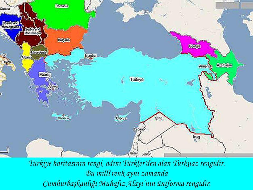 Türkiye haritasının rengi, adını Türkler'den alan Turkuaz rengidir. Bu millî renk aynı zamanda Cumhurbaşkanlığı Muhafız Alayı'nın üniforma rengidir.