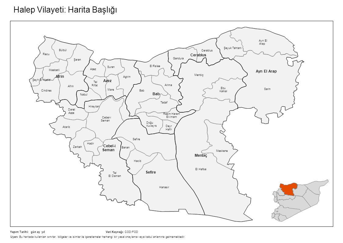 Halep Vilayeti: Harita Başlığı Agtrin Tel Rifat El Ra'ee Arima Bab Tadaf Resm Haram El-Imam Doğu Kuveyrs Sefire Hacib Hanasir Tel El Daman Zarbah Dare