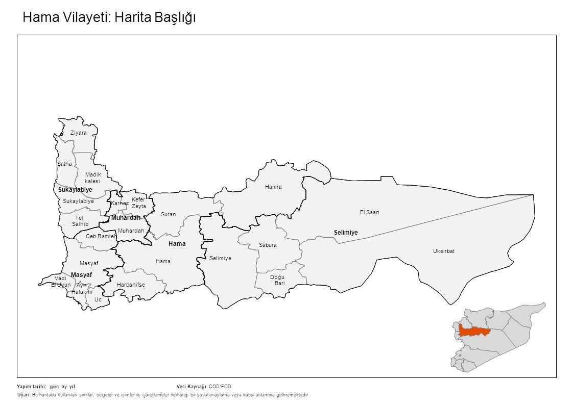 Hama Vilayeti: Harita Başlığı Sukaylabiye Tel Salhib Ziyara Madik kalesi Selimiye Doğu Bari El Saan Ukeirbat Muhardah Hama Suran Harbanifse Hamra Masy