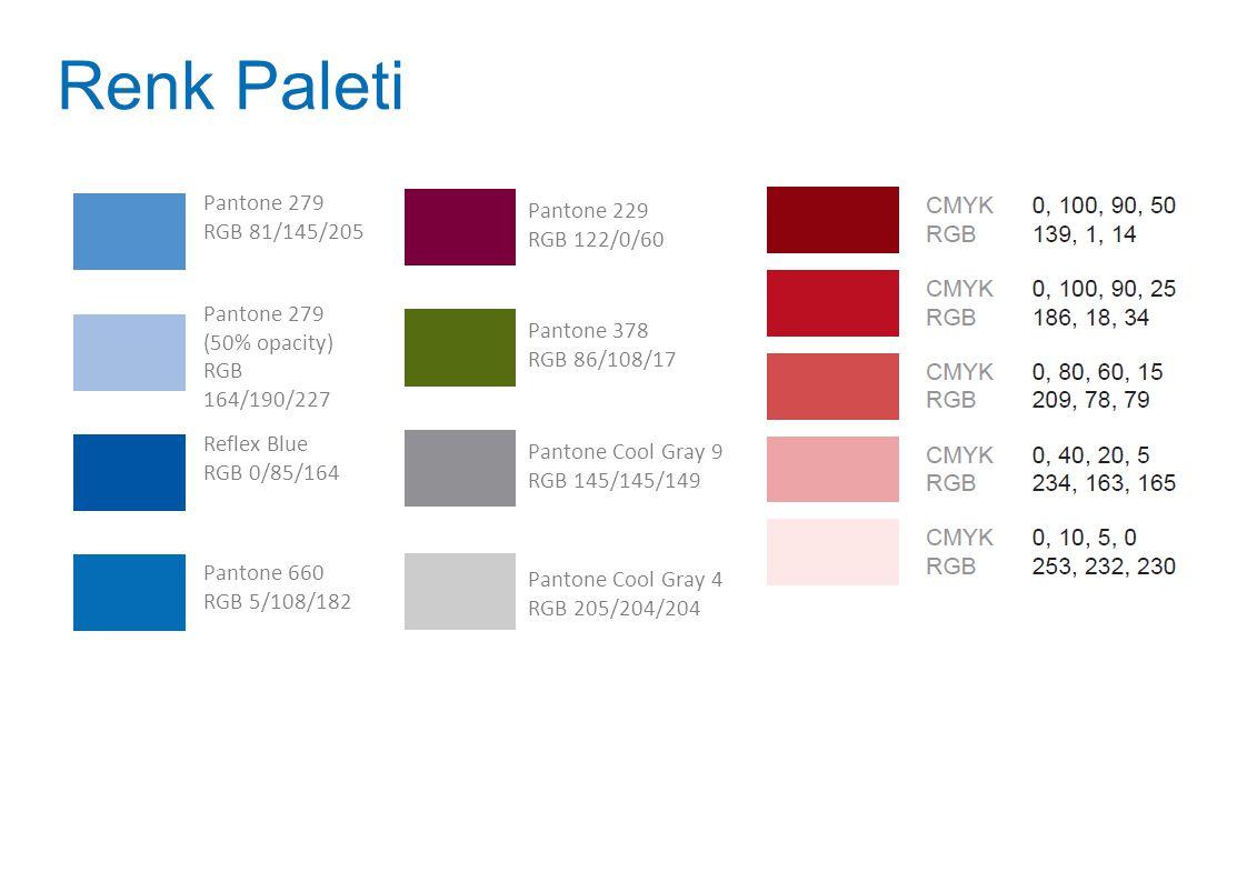 Pantone 279 RGB 81/145/205 Pantone 279 (50% opacity) RGB 164/190/227 Reflex Blue RGB 0/85/164 Pantone 660 RGB 5/108/182 Pantone 229 RGB 122/0/60 Panto