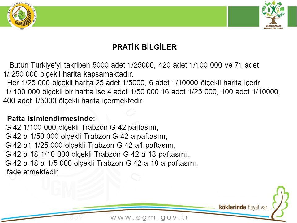 31 PRATİK BİLGİLER Bütün Türkiye'yi takriben 5000 adet 1/25000, 420 adet 1/100 000 ve 71 adet 1/ 250 000 ölçekli harita kapsamaktadır. Her 1/25 000 öl