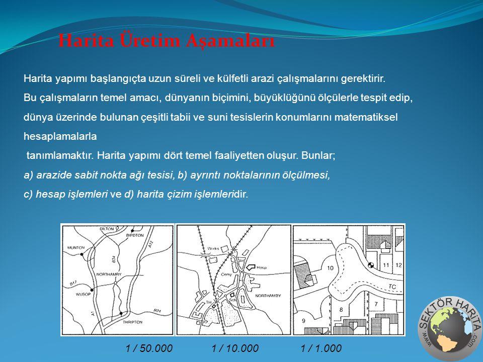 1 / 50.0001 / 10.0001 / 1.000 Harita yapımı başlangıçta uzun süreli ve külfetli arazi çalışmalarını gerektirir. Bu çalışmaların temel amacı, dünyanın