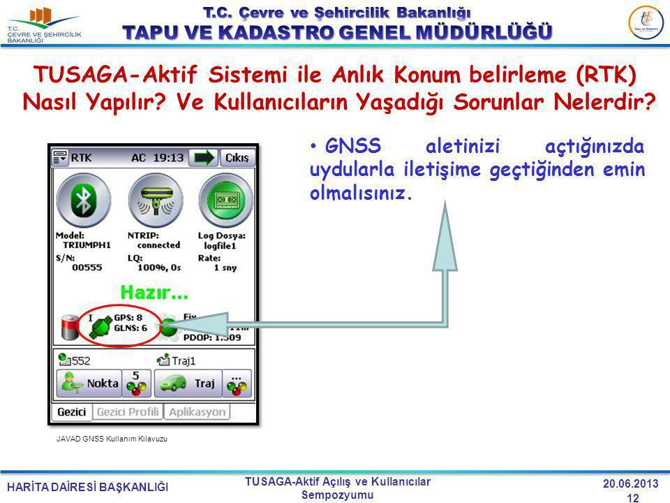 HARİTA DAİRESİ BAŞKANLIĞI TUSAGA-Aktif Açılış ve Kullanıcılar Sempozyumu 20.06.2013 TUSAGA-Aktif Sistemi ile Anlık Konum belirleme (RTK) Nasıl Yapılır
