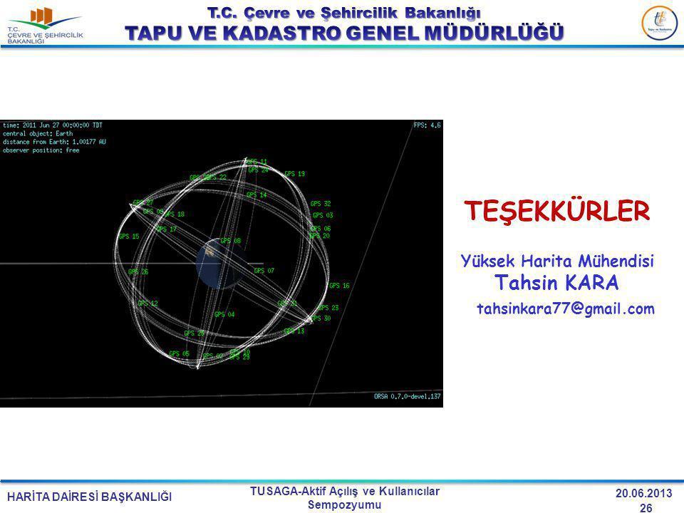 HARİTA DAİRESİ BAŞKANLIĞI TUSAGA-Aktif Açılış ve Kullanıcılar Sempozyumu 20.06.2013 TEŞEKKÜRLER Yüksek Harita Mühendisi Tahsin KARA tahsinkara77@gmail