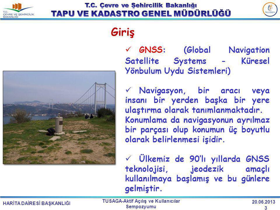 HARİTA DAİRESİ BAŞKANLIĞI TUSAGA-Aktif Açılış ve Kullanıcılar Sempozyumu 20.06.2013 Giriş GNSS: (Global Navigation Satellite Systems - Küresel Yönbulu