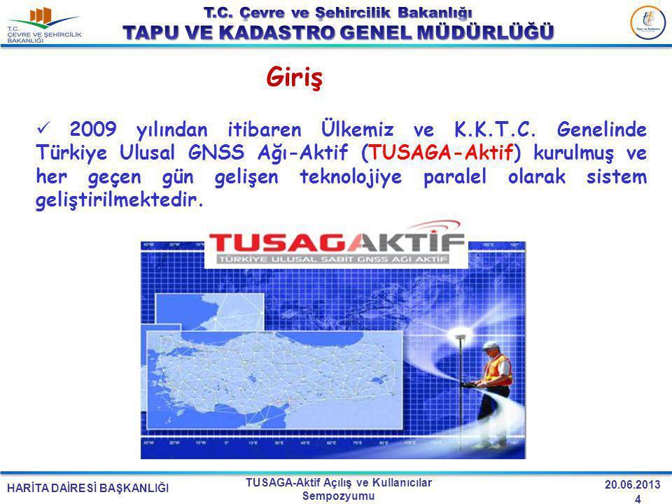 HARİTA DAİRESİ BAŞKANLIĞI TUSAGA-Aktif Açılış ve Kullanıcılar Sempozyumu 20.06.2013 2009 yılından itibaren Ülkemiz ve K.K.T.C. Genelinde Türkiye Ulusa