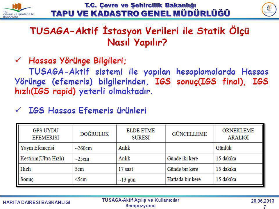 HARİTA DAİRESİ BAŞKANLIĞI TUSAGA-Aktif Açılış ve Kullanıcılar Sempozyumu 20.06.2013 TUSAGA-Aktif İstasyon Verileri ile Statik Ölçü Nasıl Yapılır.