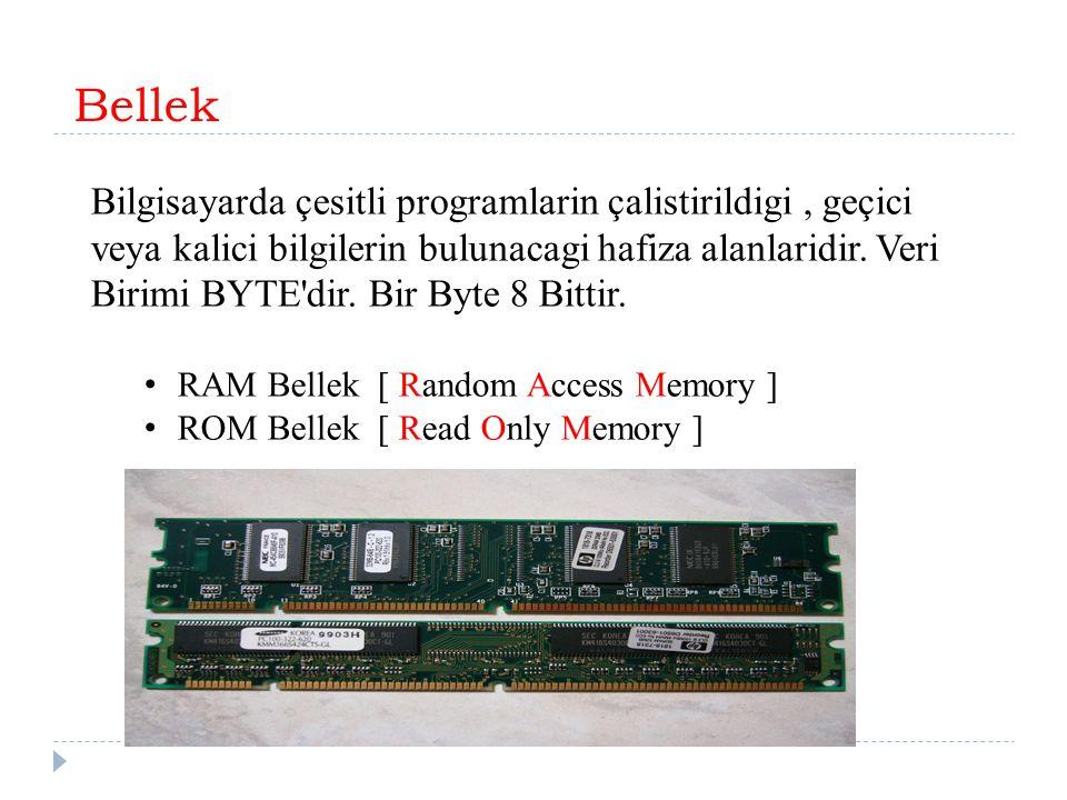 Bellek Bilgisayarda çesitli programlarin çalistirildigi, geçici veya kalici bilgilerin bulunacagi hafiza alanlaridir. Veri Birimi BYTE'dir. Bir Byte 8