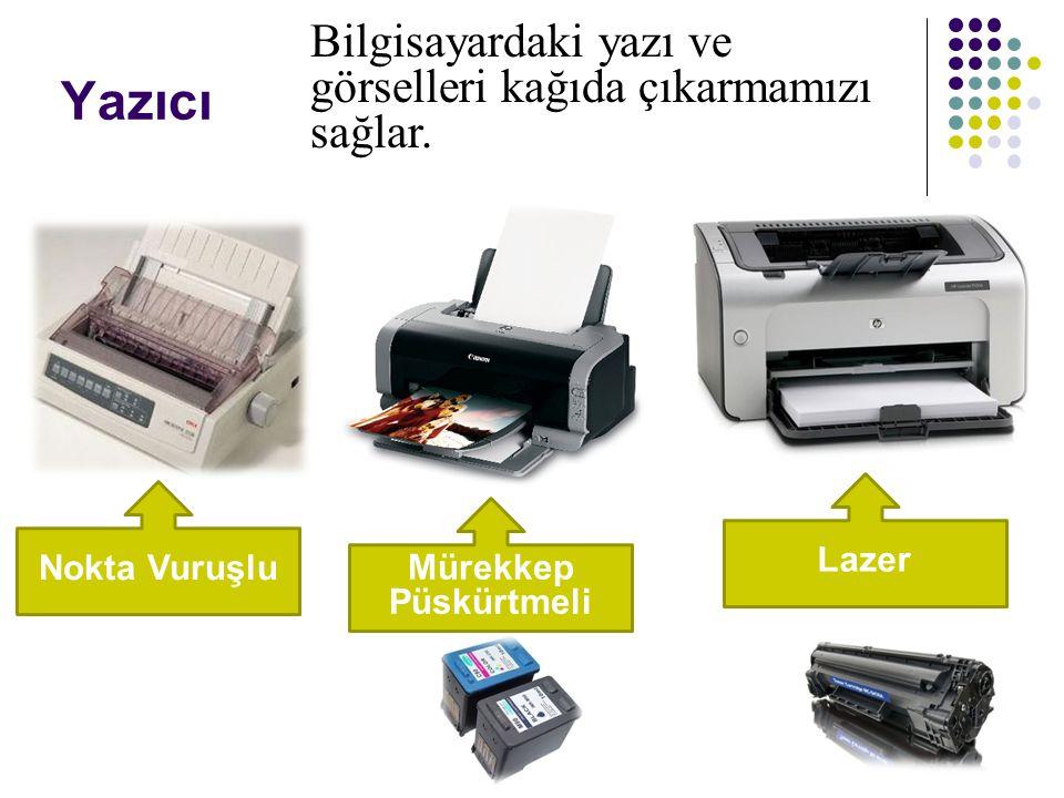 Yazıcı Nokta Vuruşlu Mürekkep Püskürtmeli Lazer Bilgisayardaki yazı ve görselleri kağıda çıkarmamızı sağlar.