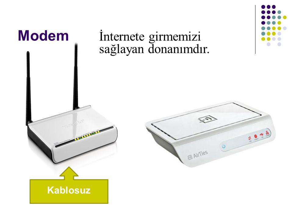 Modem Kablosuz İnternete girmemizi sağlayan donanımdır.