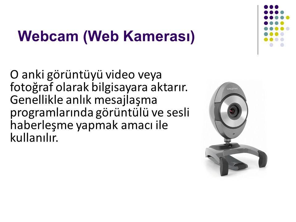 Webcam (Web Kamerası) O anki görüntüyü video veya fotoğraf olarak bilgisayara aktarır. Genellikle anlık mesajlaşma programlarında görüntülü ve sesli h