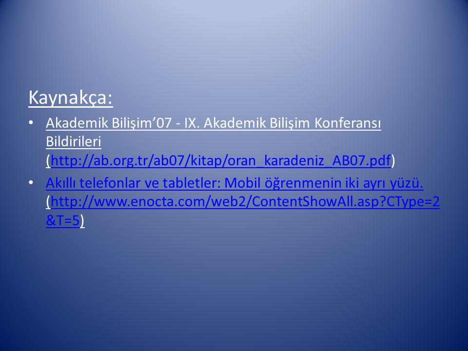 Kaynakça: Akademik Bilişim'07 - IX. Akademik Bilişim Konferansı Bildirileri (http://ab.org.tr/ab07/kitap/oran_karadeniz_AB07.pdf)http://ab.org.tr/ab07