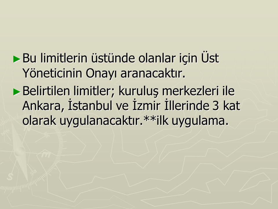 ► Bu limitlerin üstünde olanlar için Üst Yöneticinin Onayı aranacaktır. ► Belirtilen limitler; kuruluş merkezleri ile Ankara, İstanbul ve İzmir İlleri
