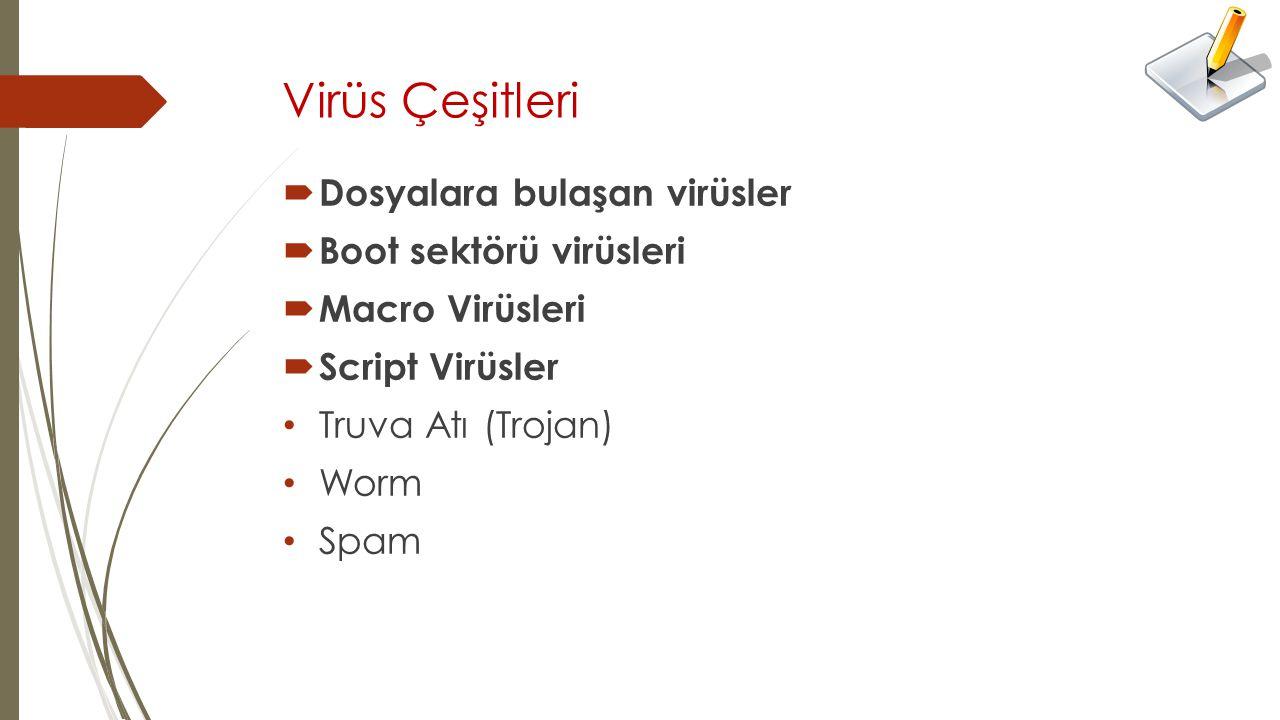Virüs Çeşitleri  Dosyalara bulaşan virüsler  Boot sektörü virüsleri  Macro Virüsleri  Script Virüsler Truva Atı (Trojan) Worm Spam