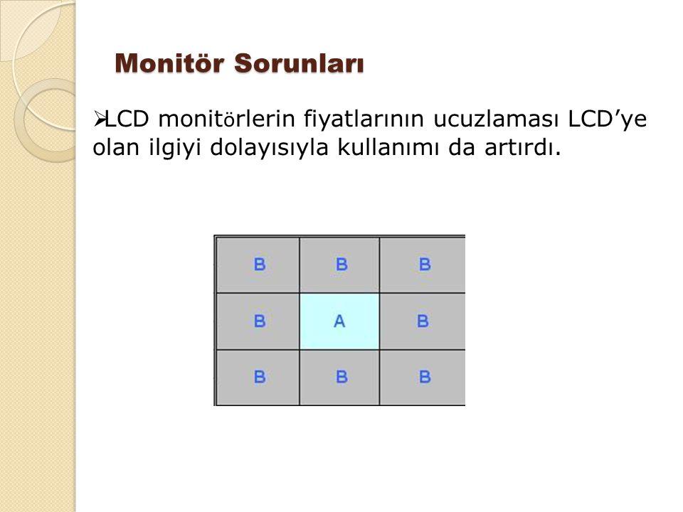 Monitör Sorunları  LCD monit ö rlerin fiyatlarının ucuzlaması LCD'ye olan ilgiyi dolayısıyla kullanımı da artırdı.