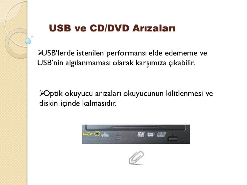 USB ve CD/DVD Arızaları  USB'lerde istenilen performansı elde edememe ve USB'nin algılanmaması olarak karşımıza çıkabilir.