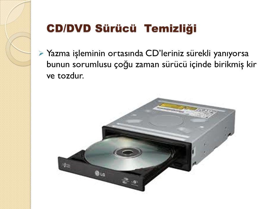 CD/DVD Sürücü Temizliği  Yazma işleminin ortasında CD'leriniz sürekli yanıyorsa bunun sorumlusu ço ğ u zaman sürücü içinde birikmiş kir ve tozdur.