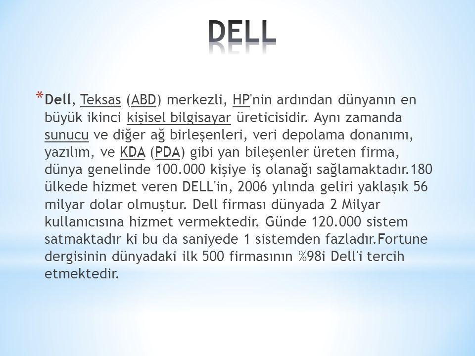 * Dell, Teksas (ABD) merkezli, HP'nin ardından dünyanın en büyük ikinci kişisel bilgisayar üreticisidir. Aynı zamanda sunucu ve diğer ağ birleşenleri,