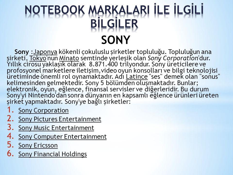 SONY Sony :Japonya kökenli çokuluslu şirketler topluluğu. Topluluğun ana şirketi, Tokyo'nun Minato semtinde yerleşik olan Sony Corporation'dur. Yıllık